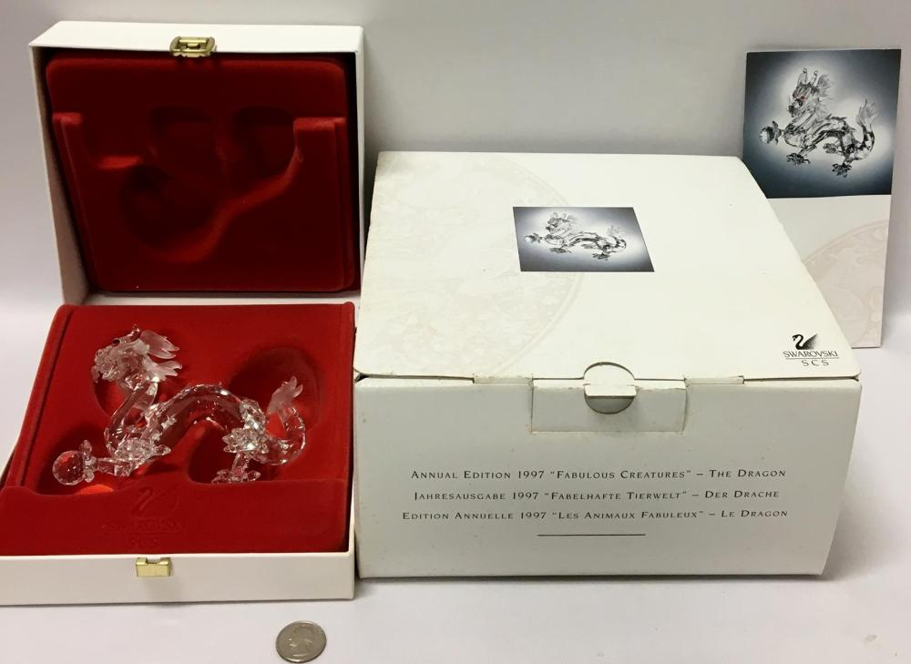 "1997 Swarovski Crystal Annual Edition SCS ""Fabulous Creatures"" The Dragon In Box with COA"
