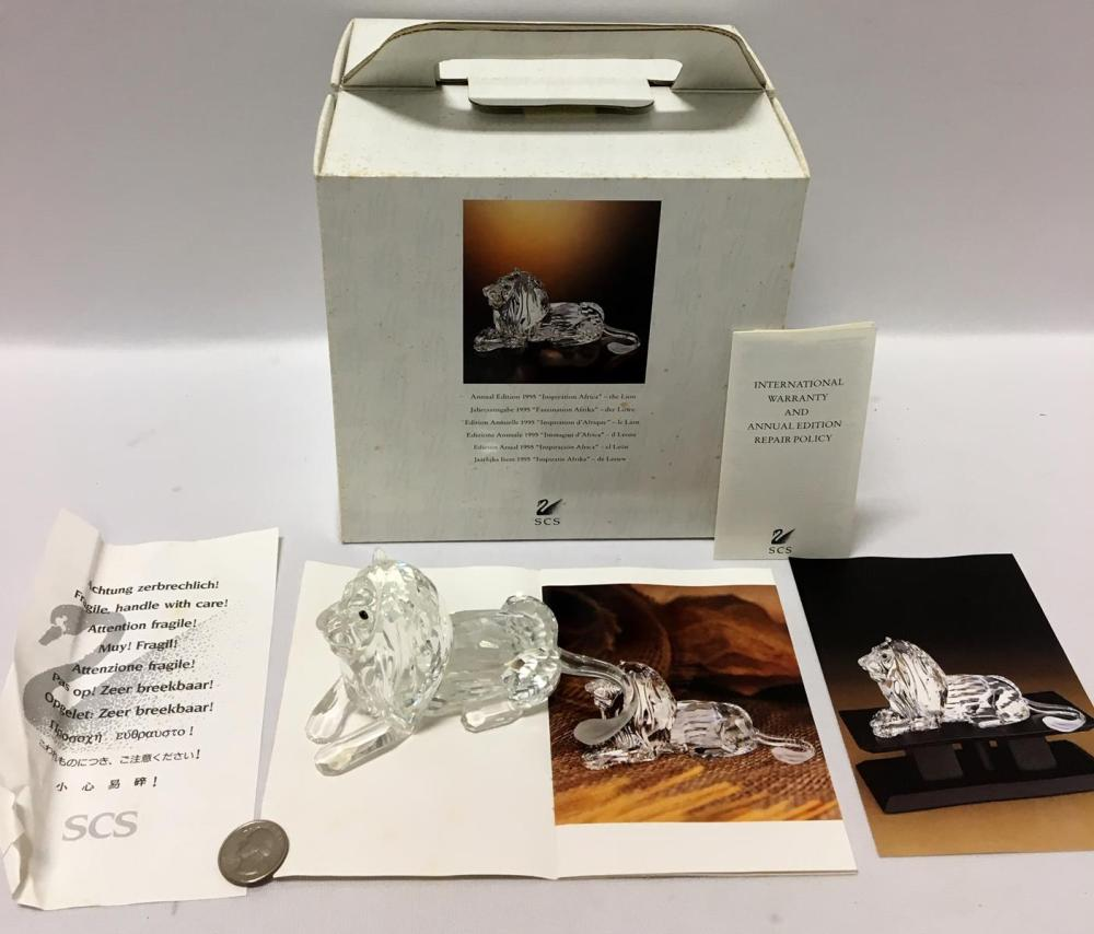 "1995 Swarovski Crystal Annual Edition SCS ""Inspiration Africa"" The Lion In Box with COA"