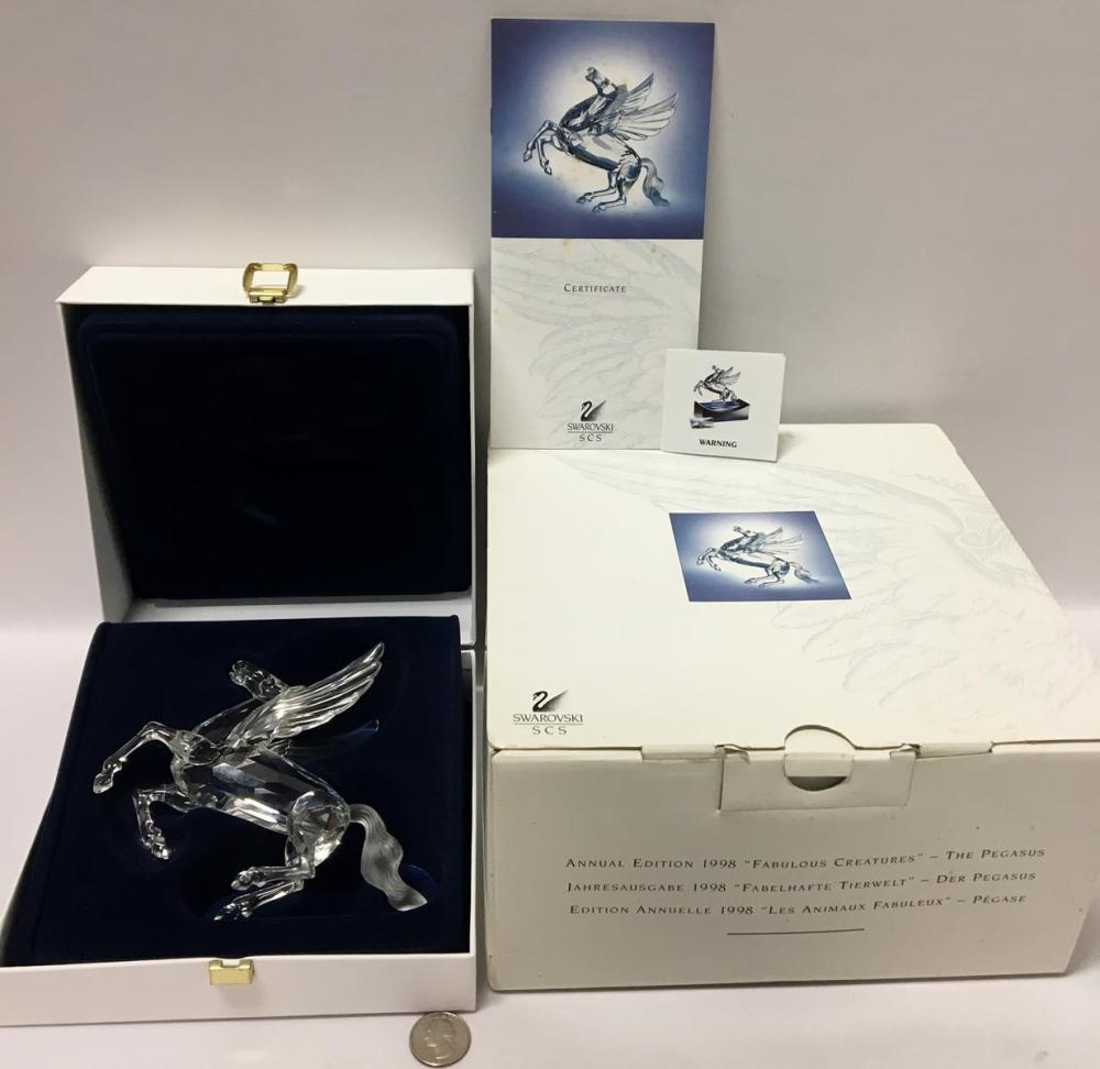 "1998 Swarovski Crystal Annual Edition SCS ""Fabulous Creatures"" The Pegasus In Box with COA"