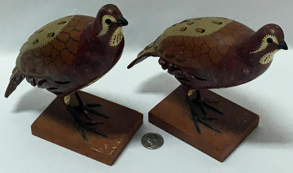 Vintage c. 1950 Lot of 2 Carl Forslund Carved Wooden Folk Art Birds