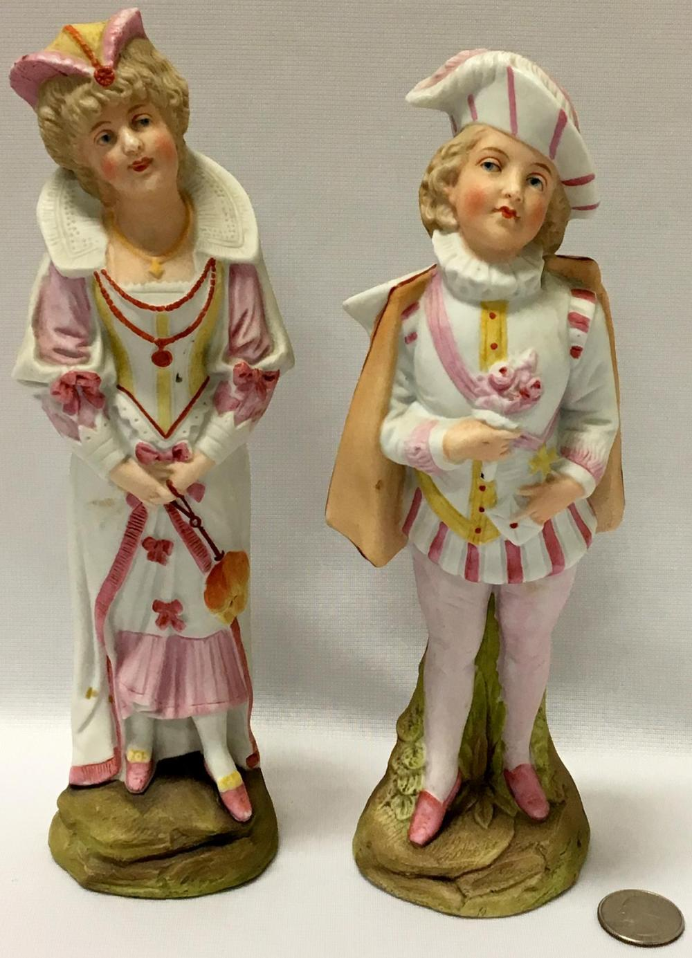 Antique 19th Century Victorian Girl & Boy Bisque Figurines by Gebruder Heubach