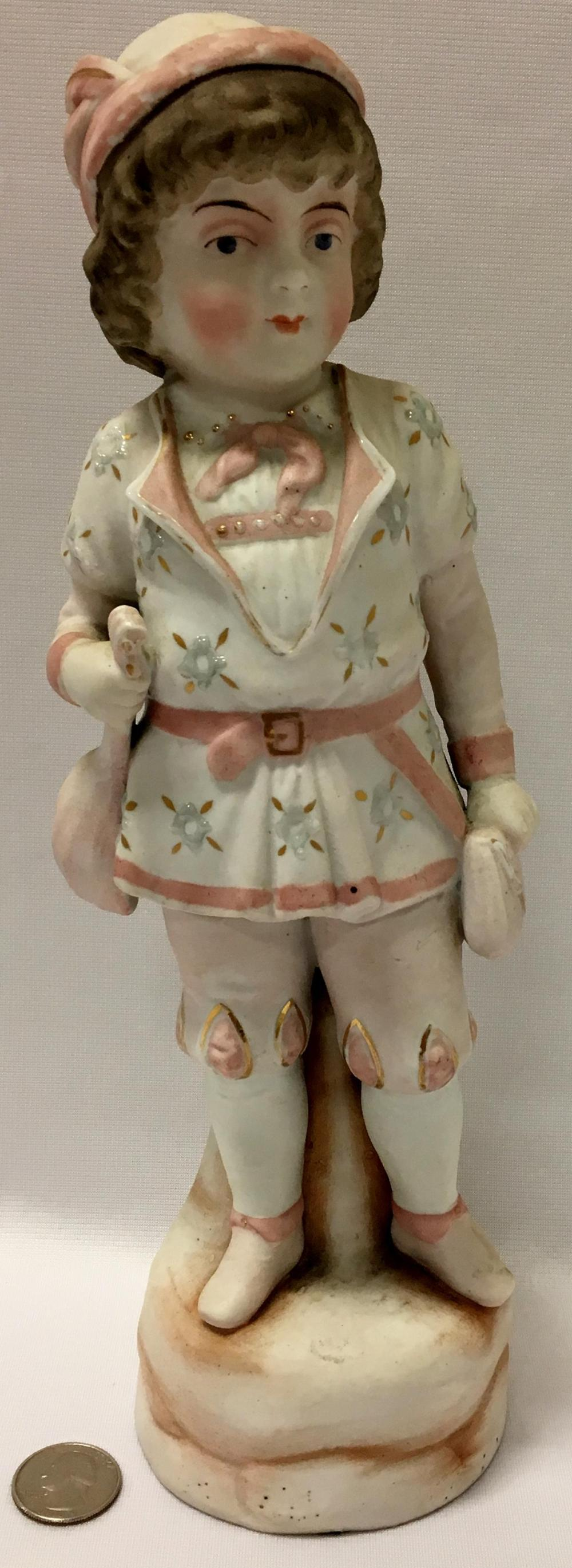 Antique 19th Century Gebruder Heubach Pink French Boy Bisque Figurine