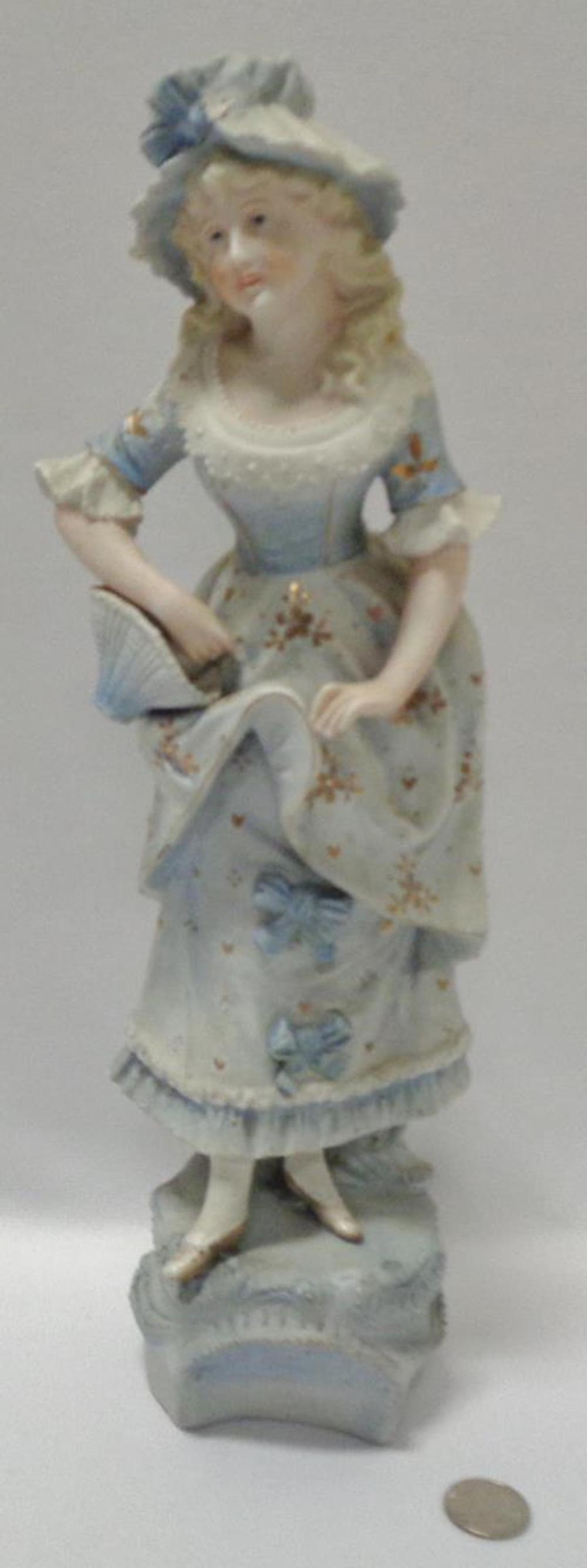 Antique 19th Century Gebruder Heubach Victorian Blue Tall Woman Holding Basket Bisque Figurine