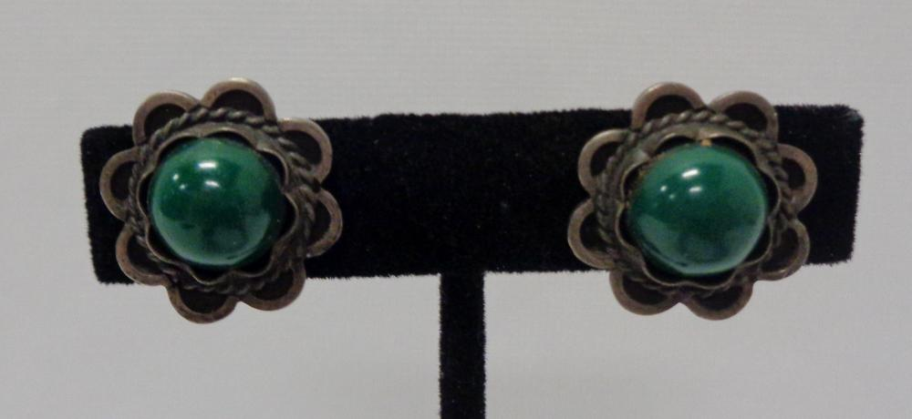 Vintage Mexico Silver & Malachite ? Earrings