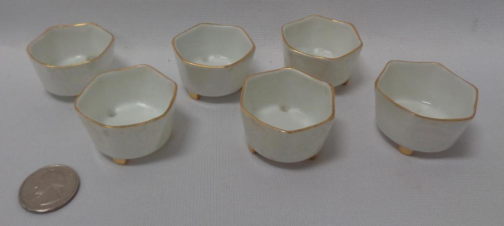 Antique Set of 6 Iridescent Gold Trim Salt Dips Germany