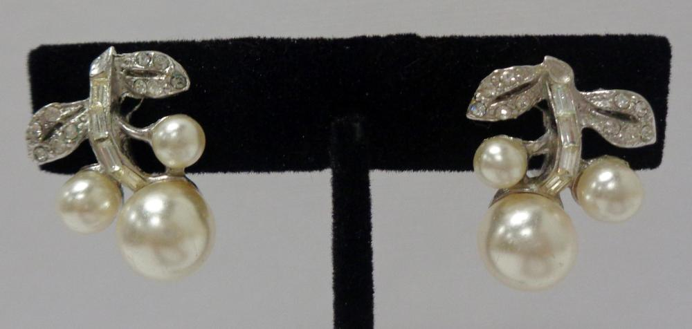Vintage Sterling Silver Pearl & Rhinestone Floral Earrings