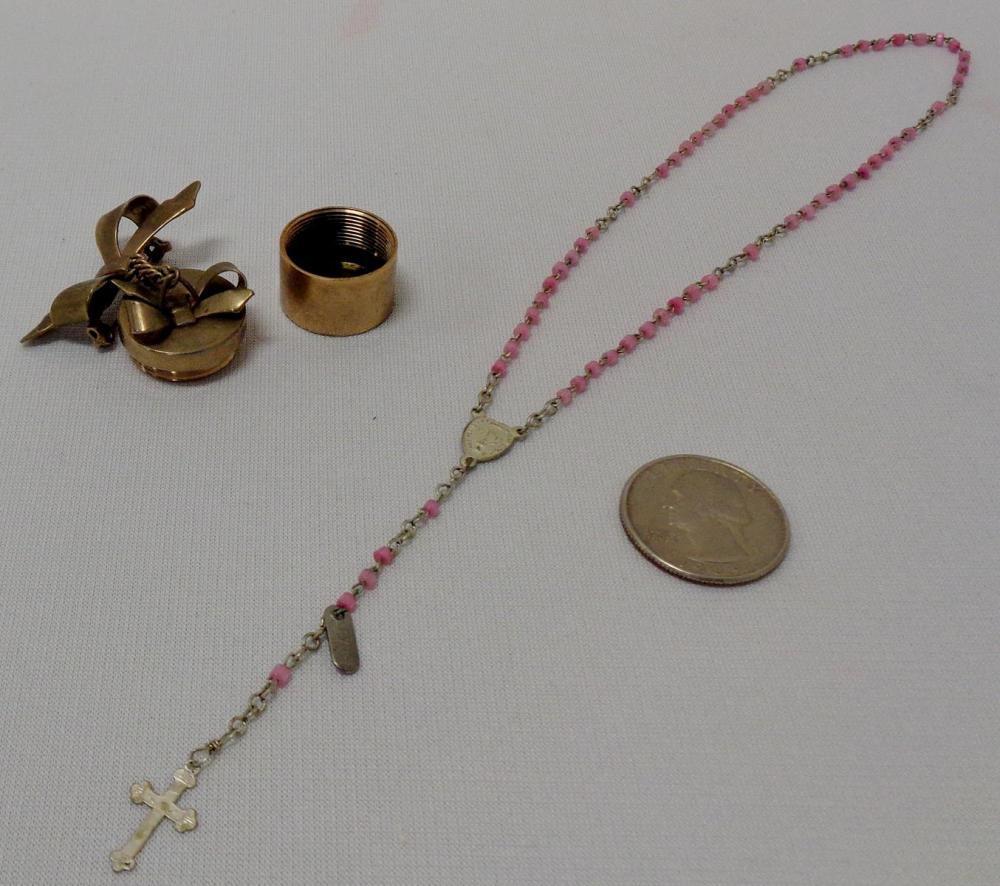 Vintage French Infant Rosary w/ Bow Pin Holder