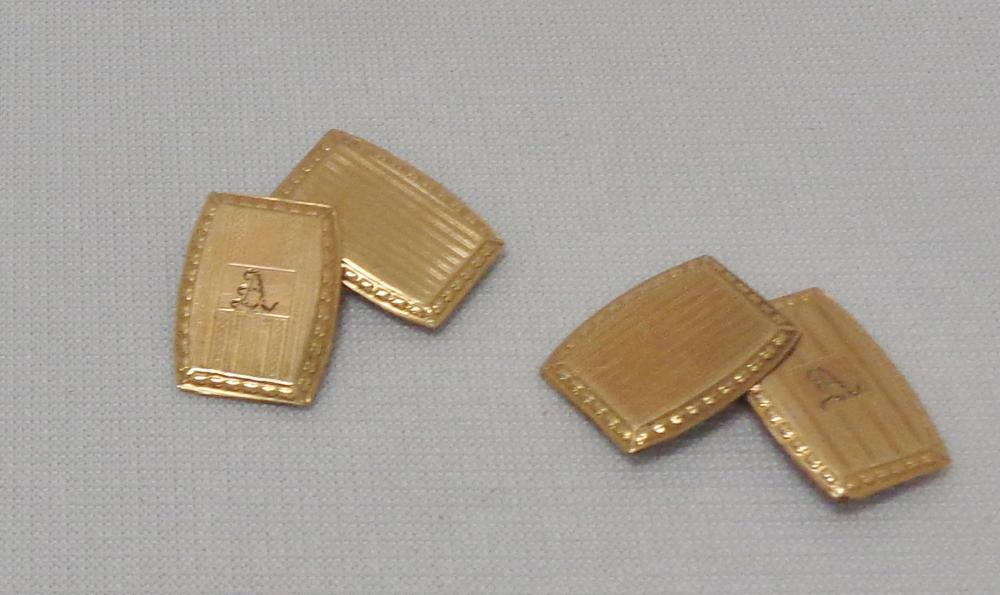 Vintage Signed Ecco Art Deco Gold Filled Monogrammed Cufflinks