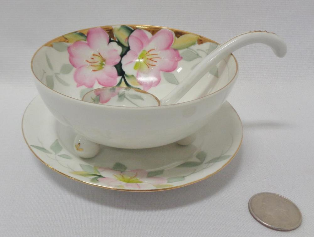 Vintage Noritake Azalea Whipped Cream Bowl w/ Underplate & Ladle
