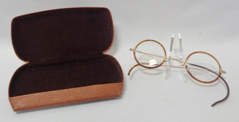 Antique Shelltex Brown Marble Frame Gold Filled? Bifocal Glasses w/ Case