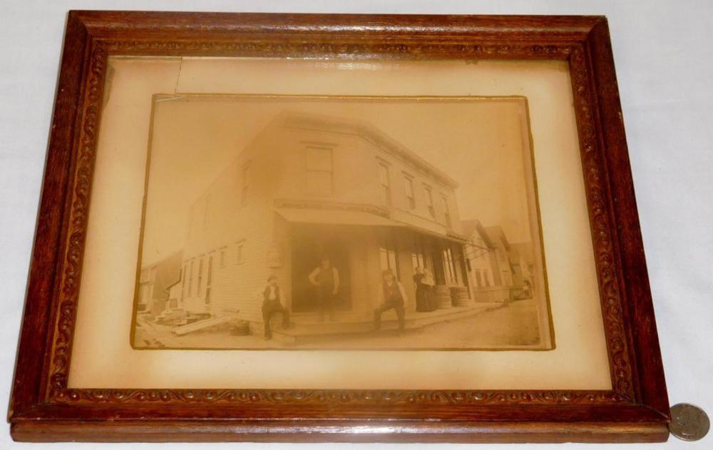 Antique c. 1890 H. Schaff Grocers & Provisions Corner Store Cabinet Photograph w/ Genesee Brewing Co. Wood Sign FRAMED