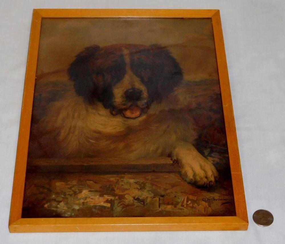 "Antique 1908 ""A Faithful Friend"" St. Bernard Dog Print by C.L. Van Vredenburgh FRAMED"