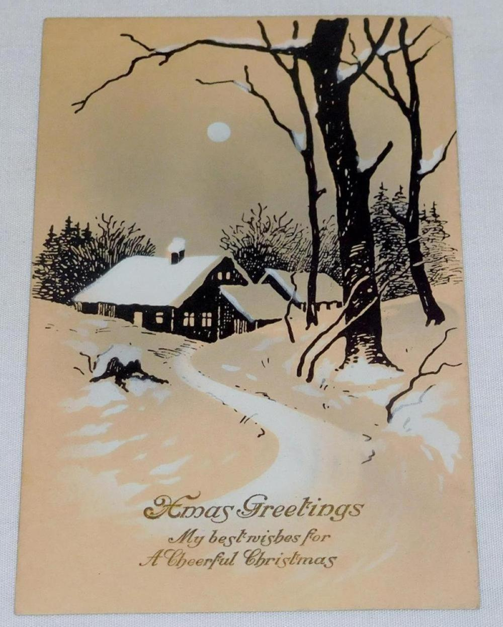 "Antique 1914 Hand Painted ""Xmas Greetings"" Christmas Post Card"