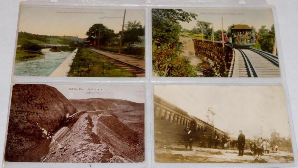 Antique Lot of 4 Misc. Early 1900's Train and Trolley Car Post Cards (Real Photo, Etc..)