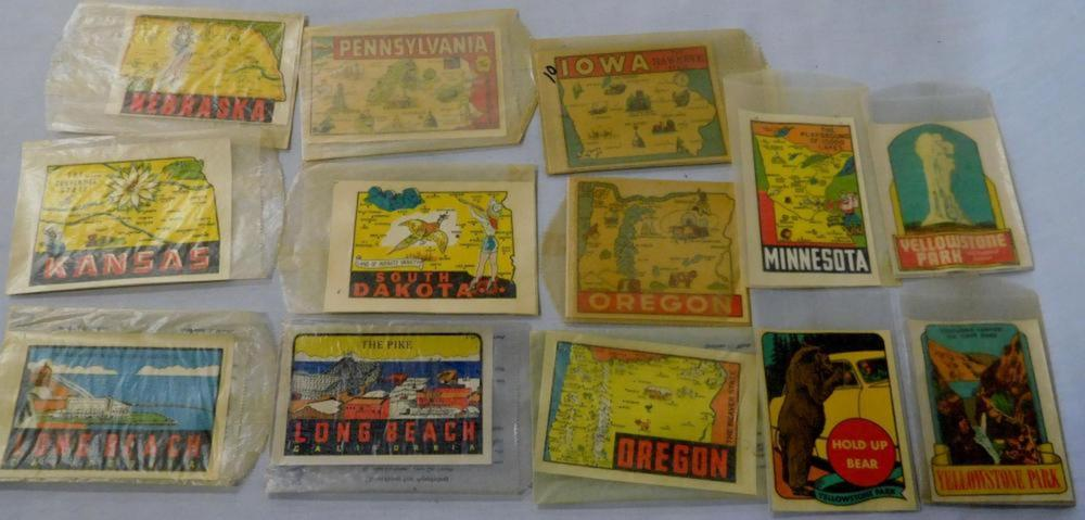 Vintage Lot of 13 United States Travel Decals Unused (Yellowstone Park, Nebraska, Etc.)