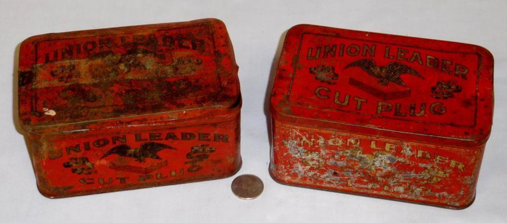 Antique Lot of 2 Union Leader Cut Plug Tobacco Lift Top Advertising Tins