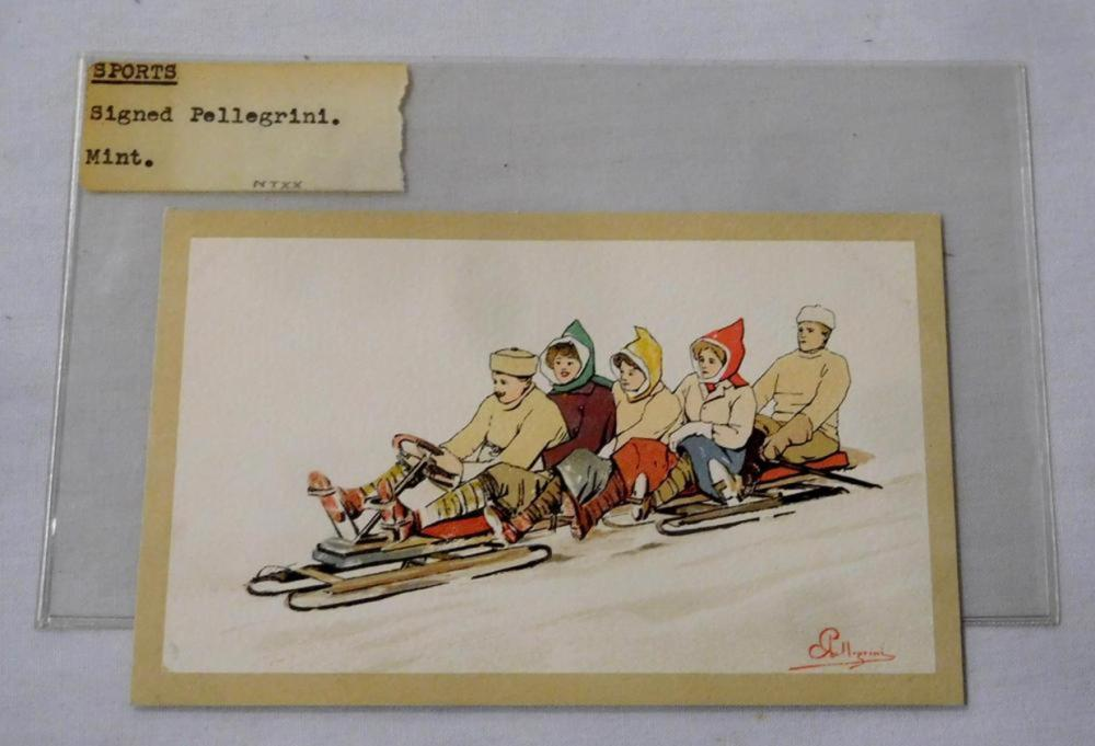 Vintage c. 1910 Winter Sports 5 Person Toboggan Artist Signed PELLEGRINI Postcard
