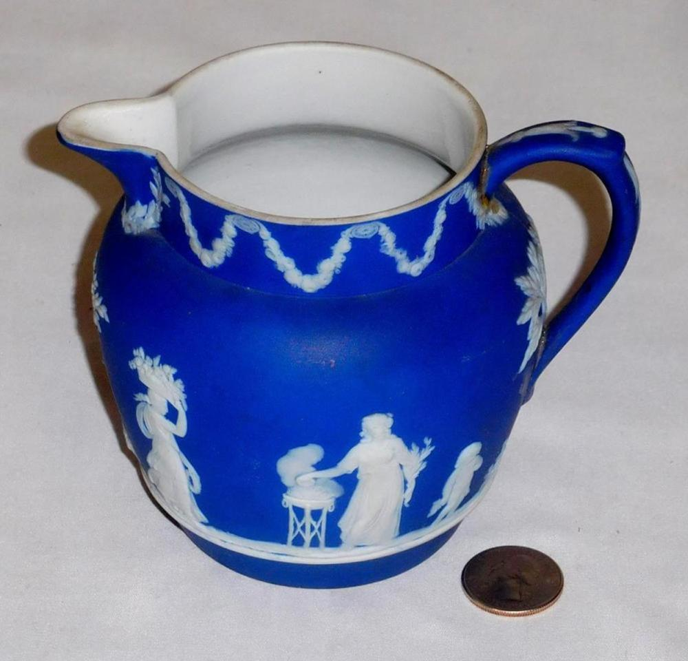 Vintage Wedgwood Jasperware Dark Blue Small Pitcher