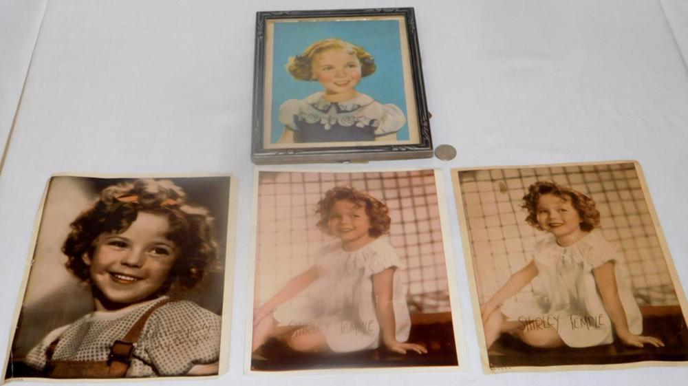 Vintage Lot of 4 Shirley Temple Photograph Color Prints (ONE FRAMED)