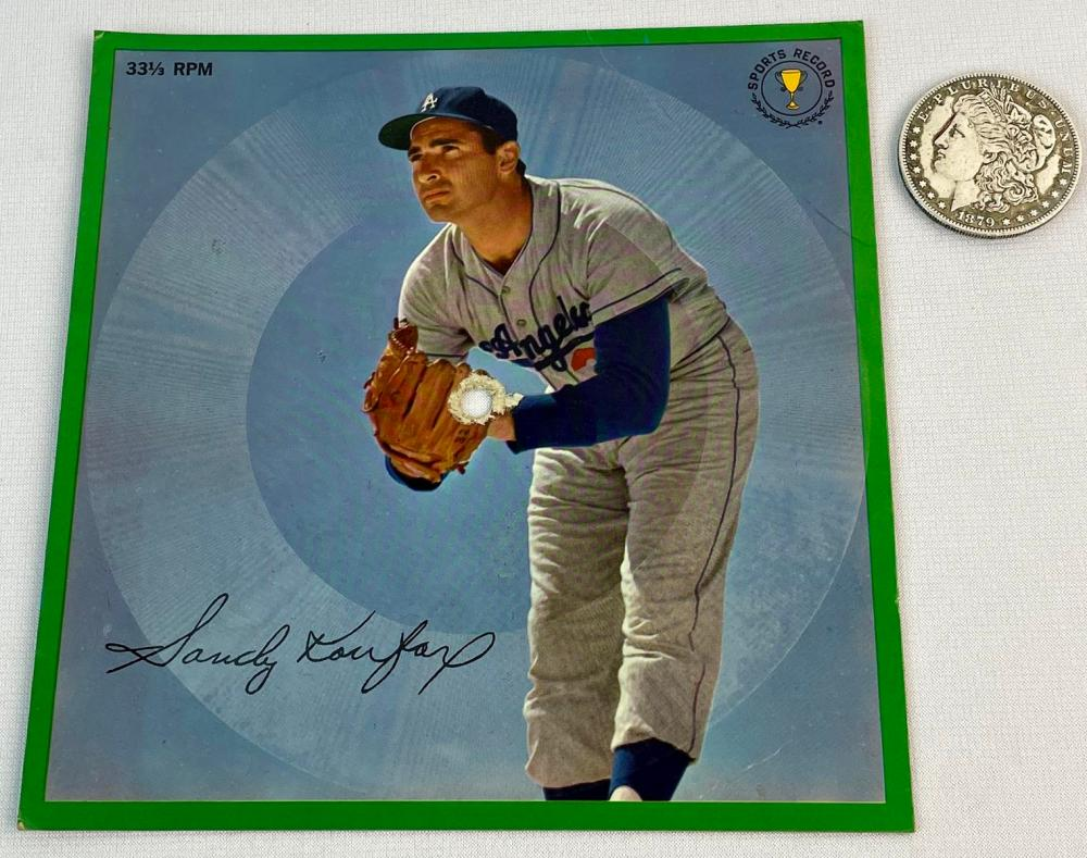Vintage 1962 Sandy Koufax Sports Champion Inc. Baseball Stats 33 1/3 RPM Photo Records