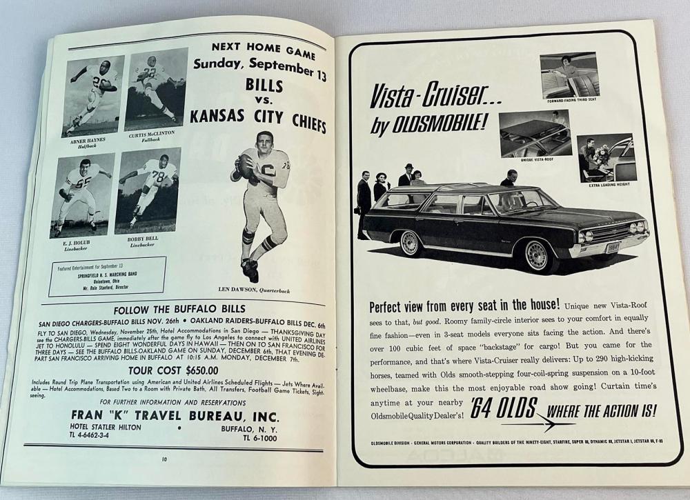 Vintage Aug. 28, 1964 Buffalo Bills vs. Boston Patriots Official Program