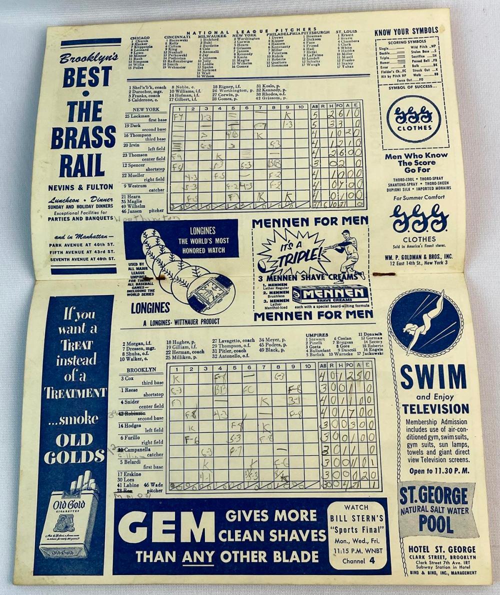 Vintage 1953 Dodgers National League Champion Official Program & Score Card