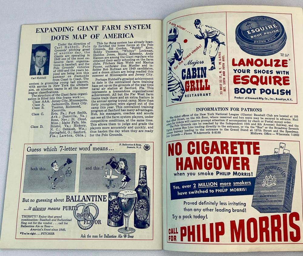 Vintage 1949 New York Giants Official Program & Score Card