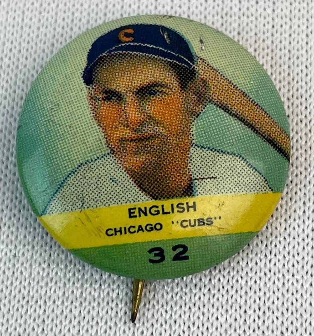 Vintage 1932 No. 32 Woody English Chicago Cubs Orbit Gum Baseball Pinback
