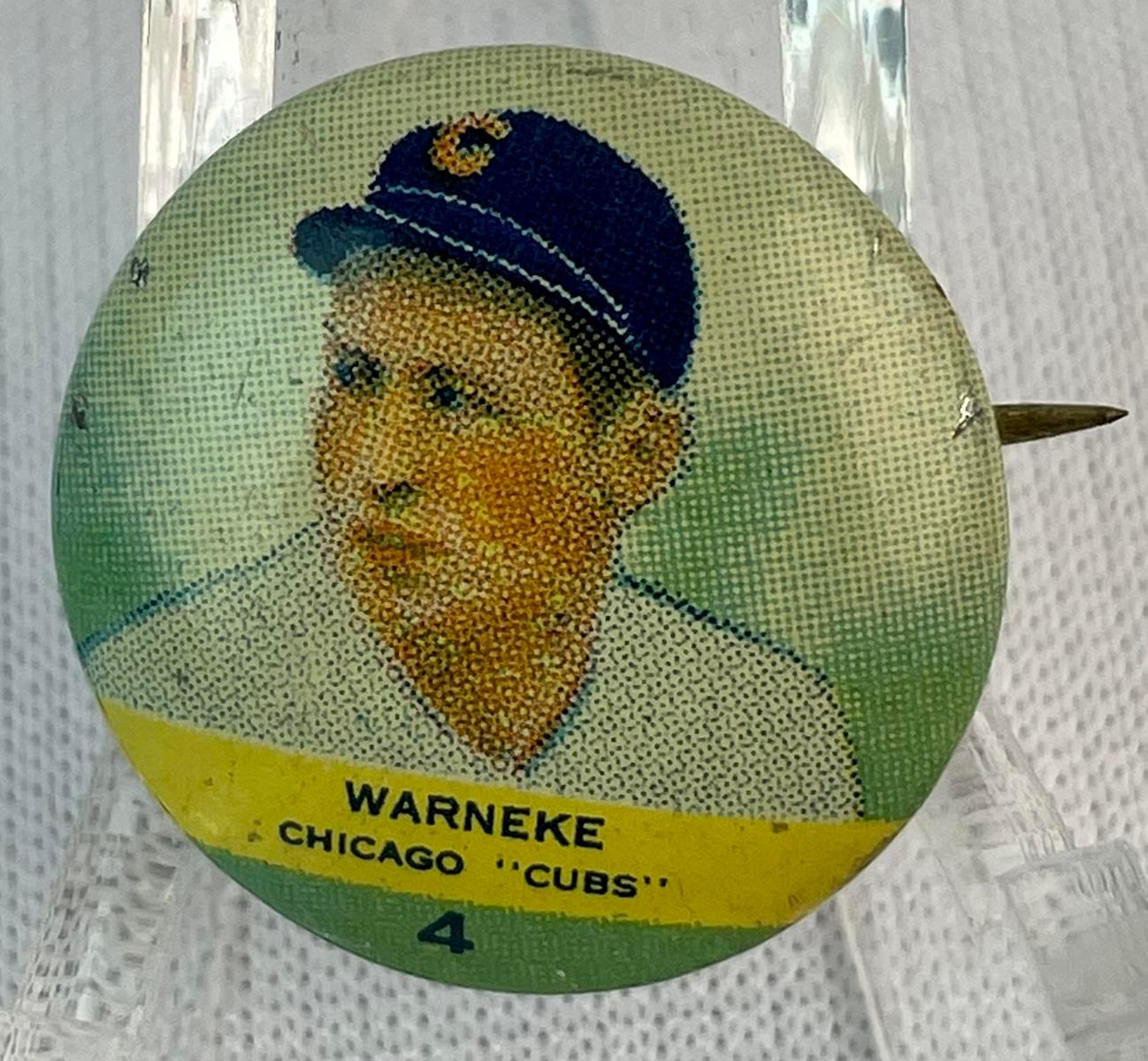 Vintage 1932 No. 4 Lon Warneke Chicago Cubs Orbit Gum Baseball Pinback