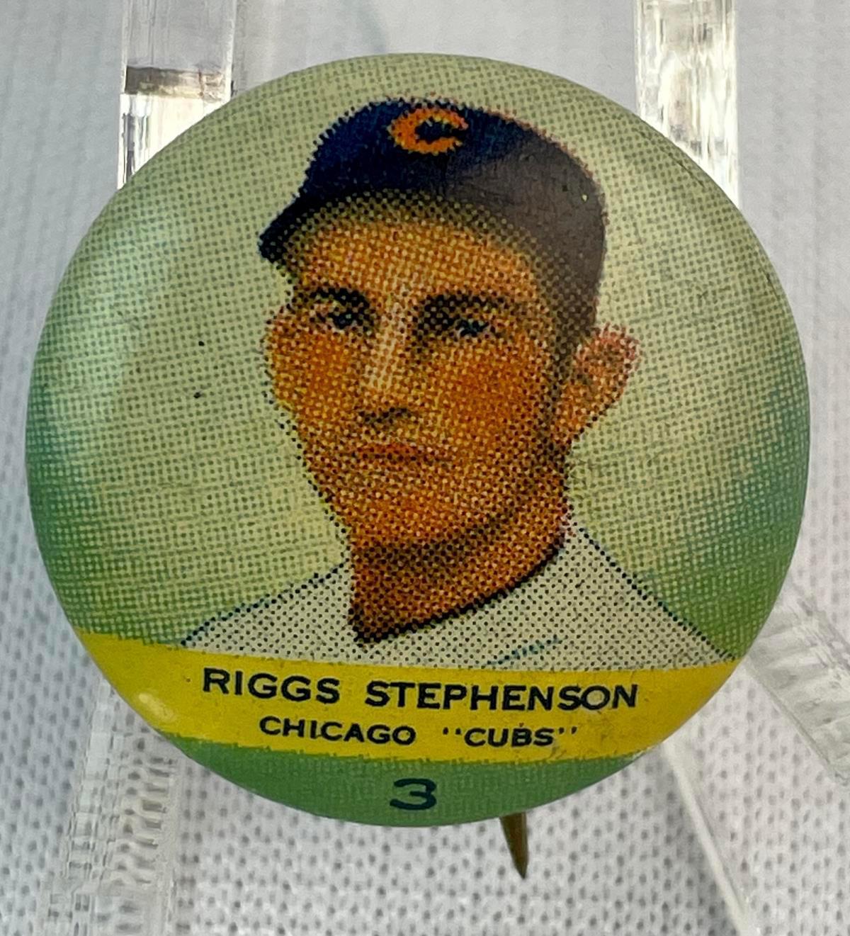 Vintage 1932 No. 3 Riggs Stephenson Chicago Cubs Orbit Gum Baseball Pinback