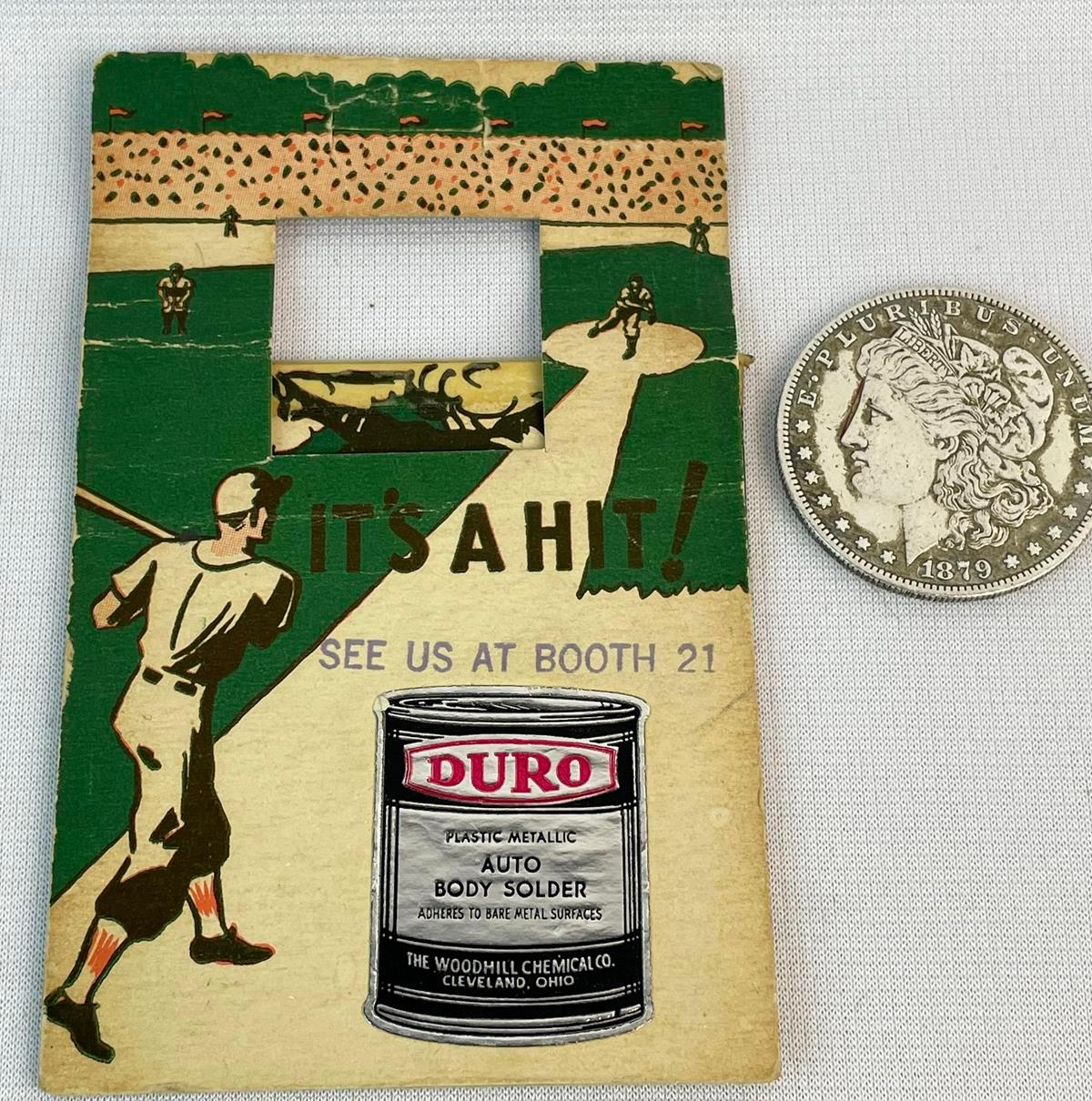 RARE Vintage 1942 Duro Auto Body Solder Advertising Baseball Western Auto Store Canandaigua, NY Game