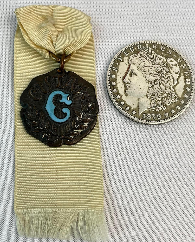 Antique 1903 Columbia University Run High Jump Medal w/ Ribbon (CUTAA)