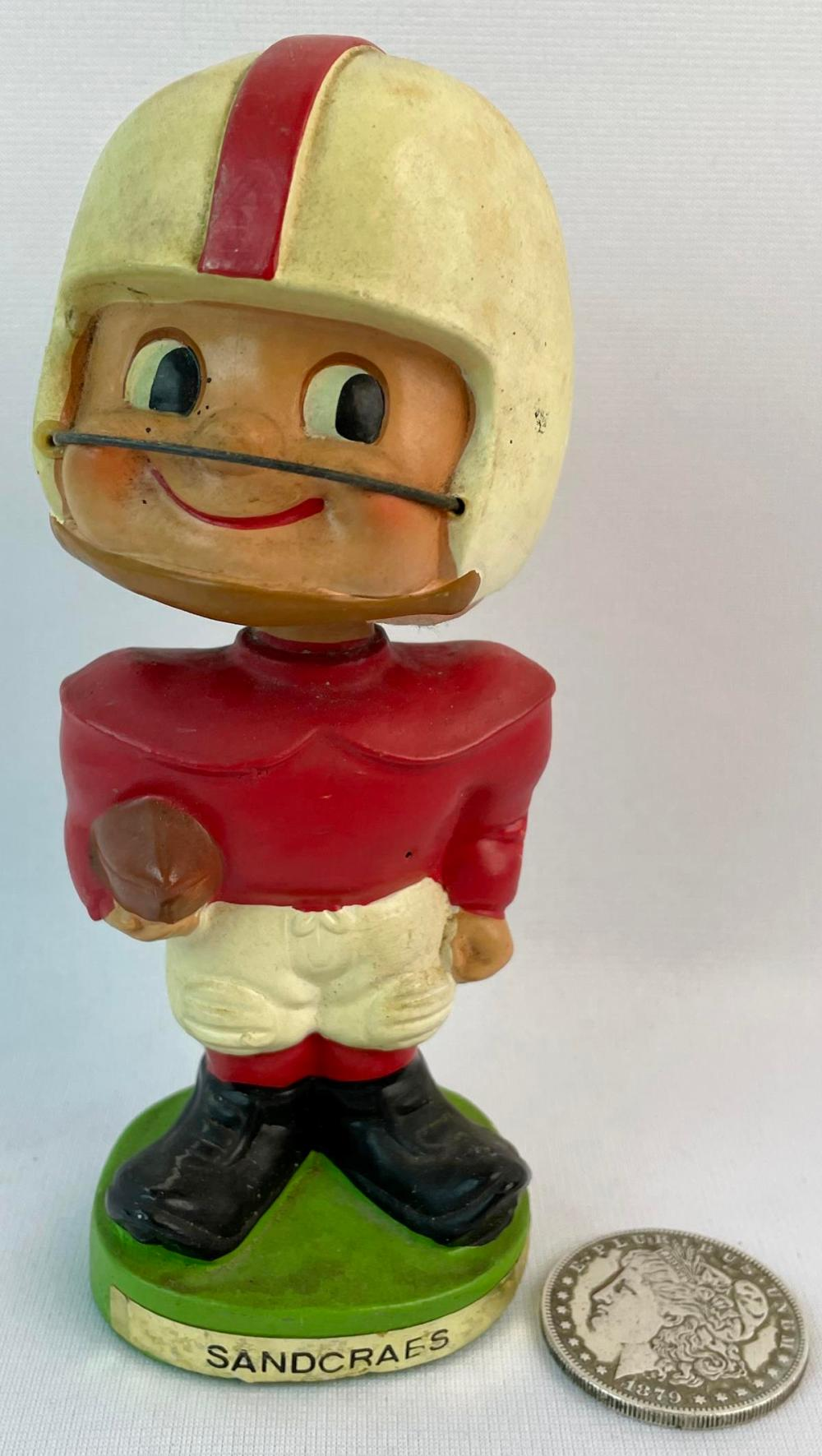 Vintage 1960's Football Player Bobble Head Nodder w/ White and Red Jersey WORKS