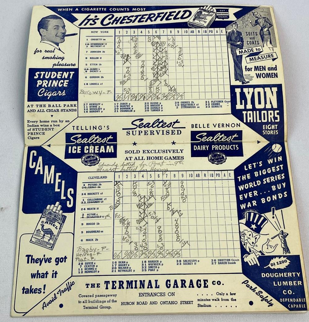1943 Cleveland Indians vs. New York Yankees Official Press Score Card (Bill Dickey, Lou Boudreau)