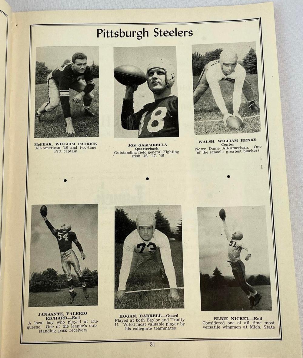 1951 Football Program Pittsburgh Steelers vs. San Francisco 49'ers