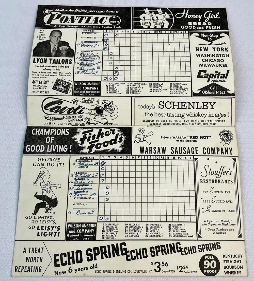 1953 Cleveland Indians vs. New York Yankees Official Score Card (Mantle, Berra, Rizzuto, Doby, Etc..)