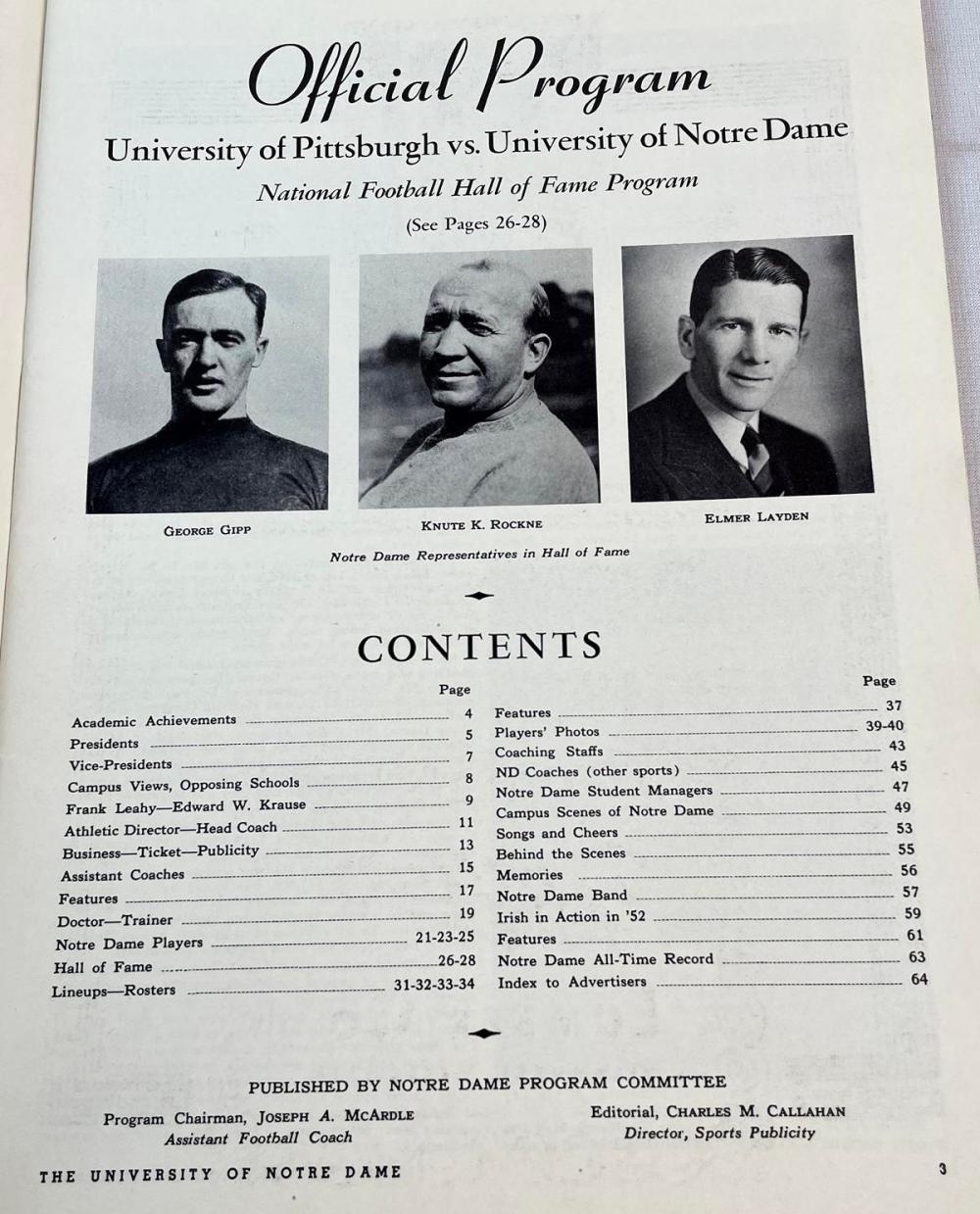 October 17, 1953 Pittsburgh vs. Notre Dame Hall of Fame Game Official Program