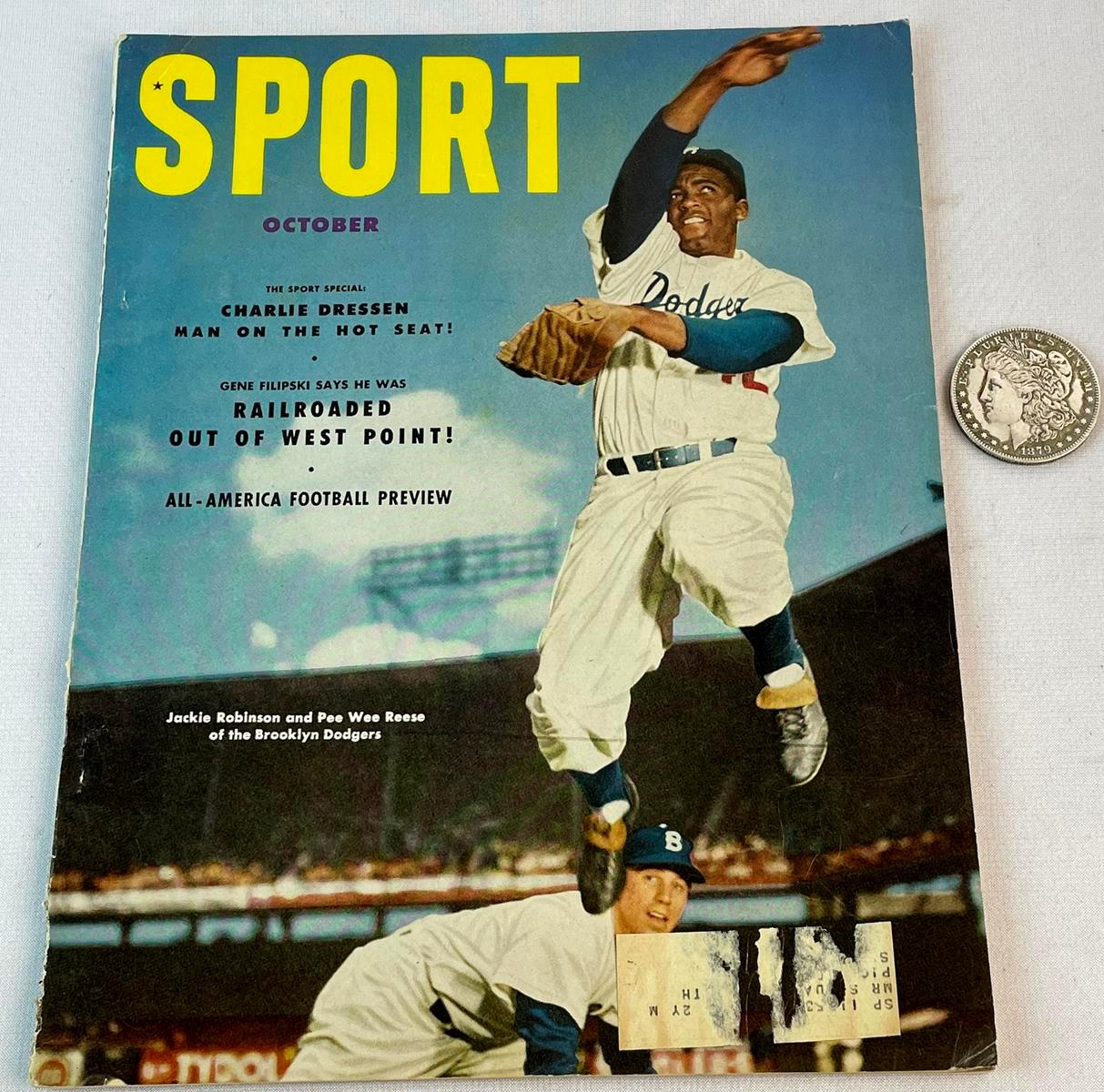 October 1952 Sport Magazine w/ Jackie Robinson & Pee Wee Reese Cover