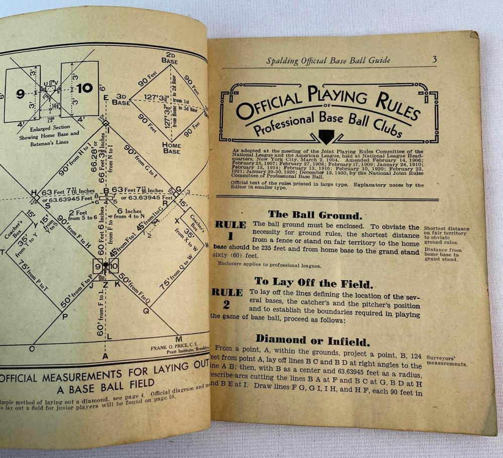1932 Spaulding's Official Baseball Rules by John B. Foster