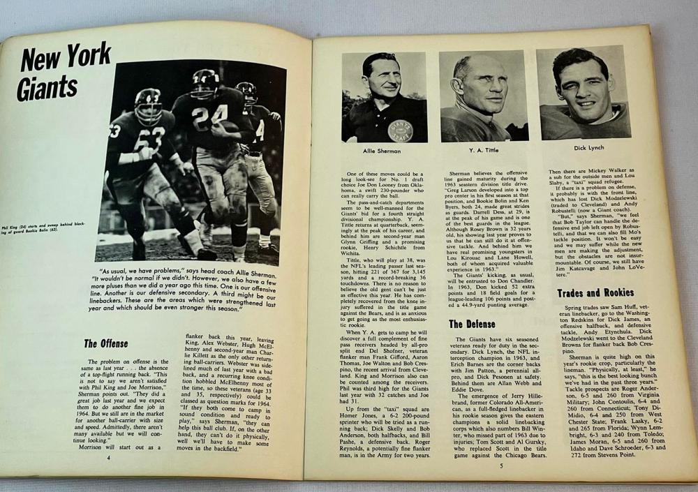 August 22, 1964 NY Giants vs Washington Redskins Football Program w/ Y.A. Tittle Cover