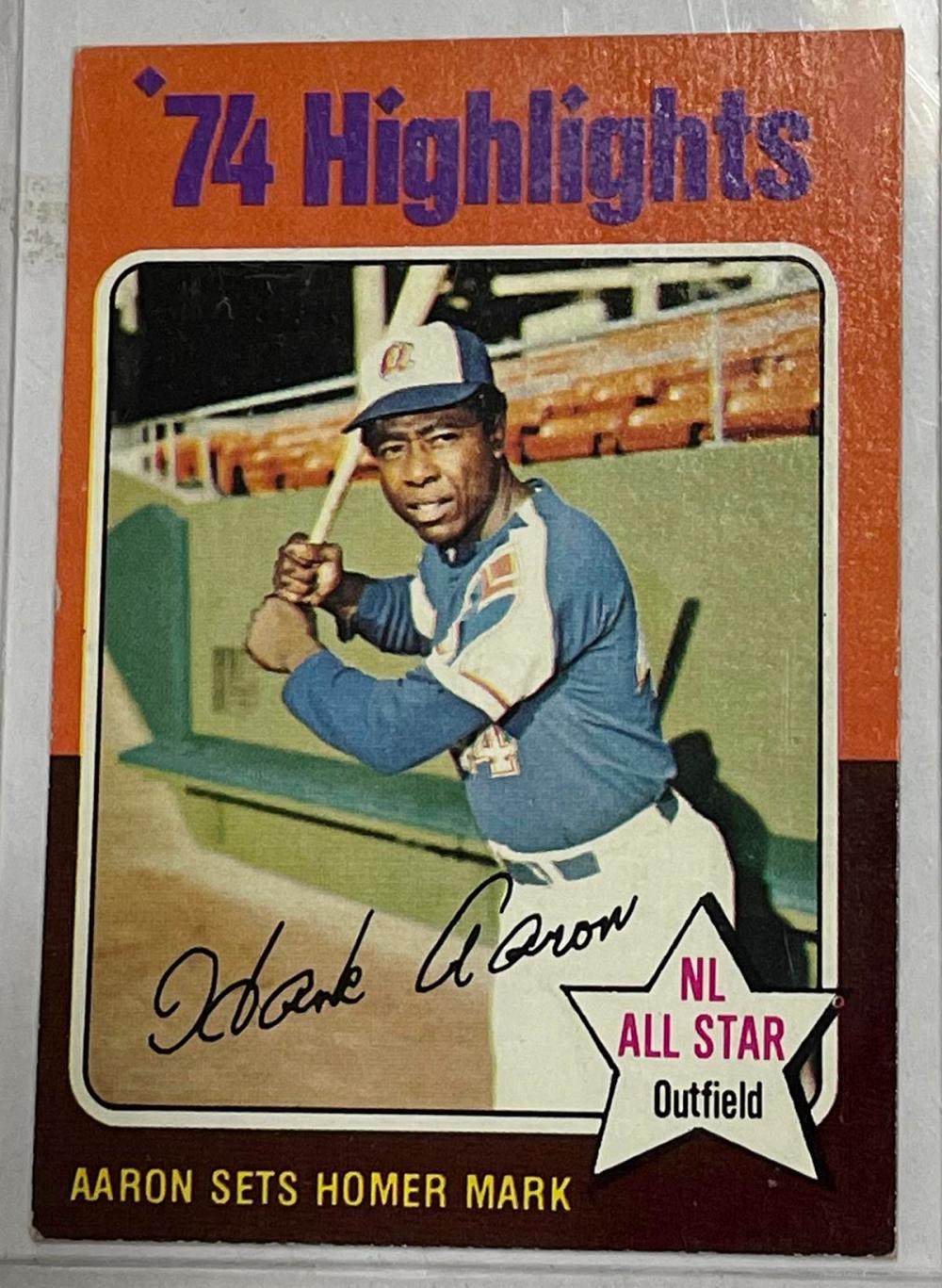 "1975 Topps #1 Hank Aaron ""Sets Homer Mark"" '74 Highlights Baseball Card"
