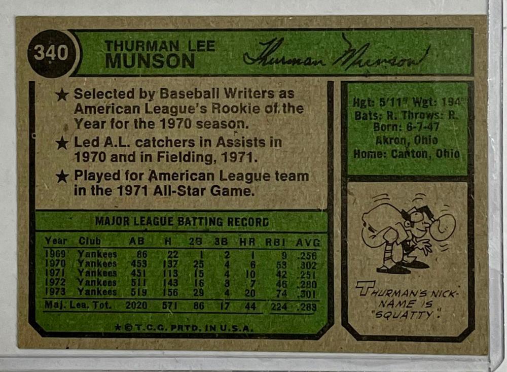 1974 Topps #340 Thurman Munson New York Yankees Baseball Card