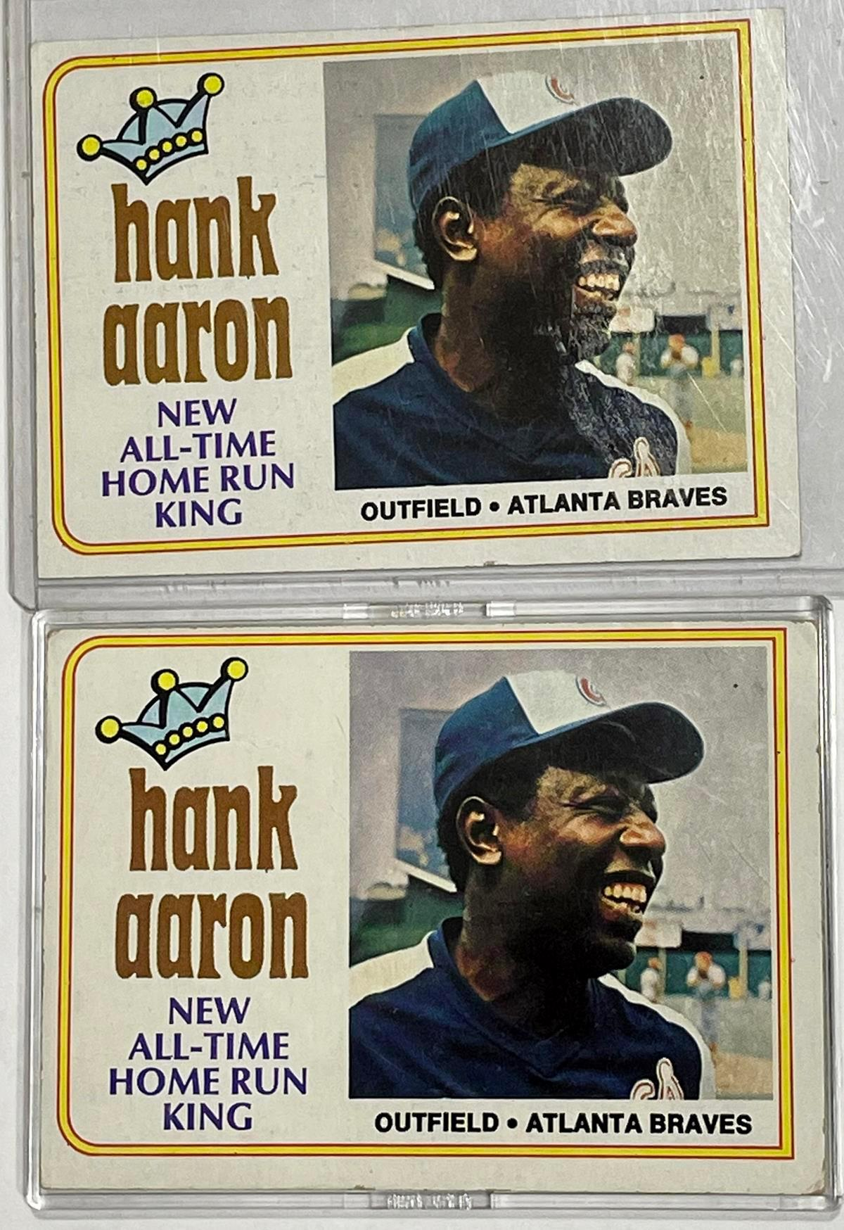 1974 Topps #1 Hank Aaron Atlanta Braves Lot of 2 Baseball Cards