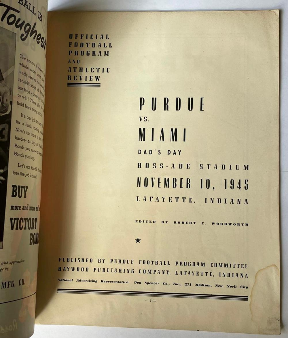 1945 Purdue Boilermakers vs. Miami Redskins College Football Official Program and Athletic Review