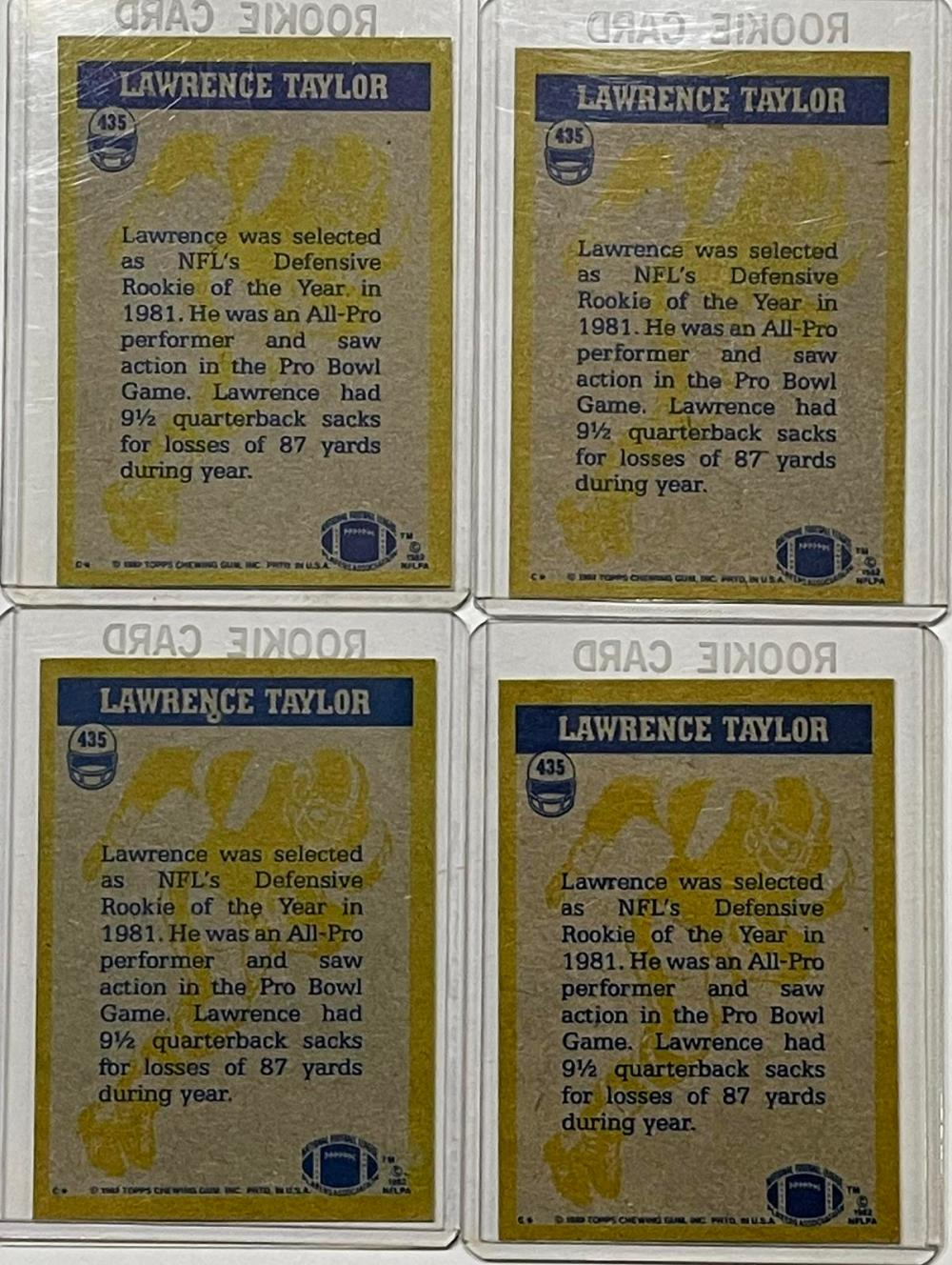 1982 Topps #435 In Action Lawrence Taylor New York Giants Lot of 4 Rookie Cards