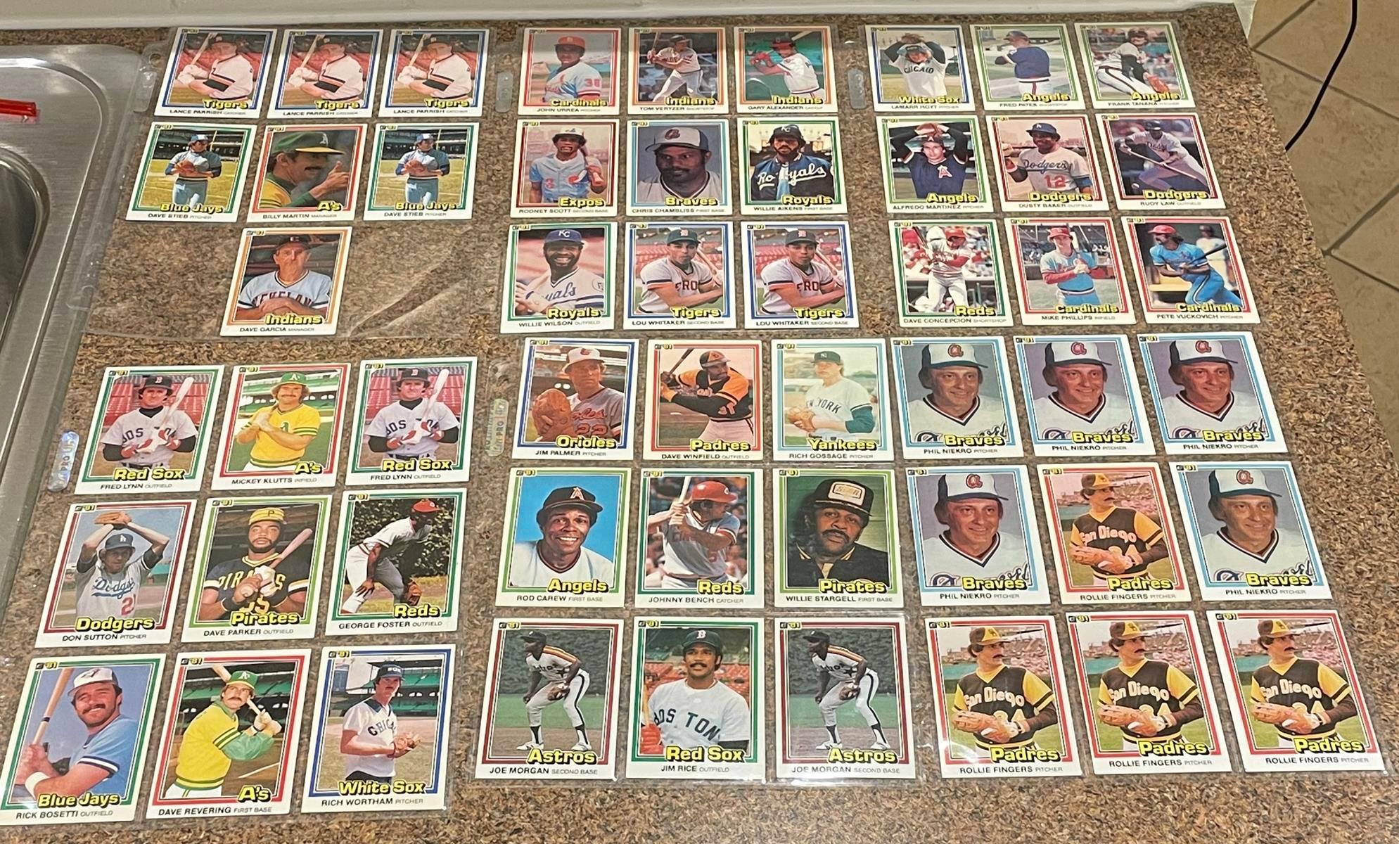 Vintage 1981 Donruss Lot of 52 Baseball Cards (Bench, Palmer, Winfield, Stargell, Carew, Morgan, Fingers, Rice, Etc..)