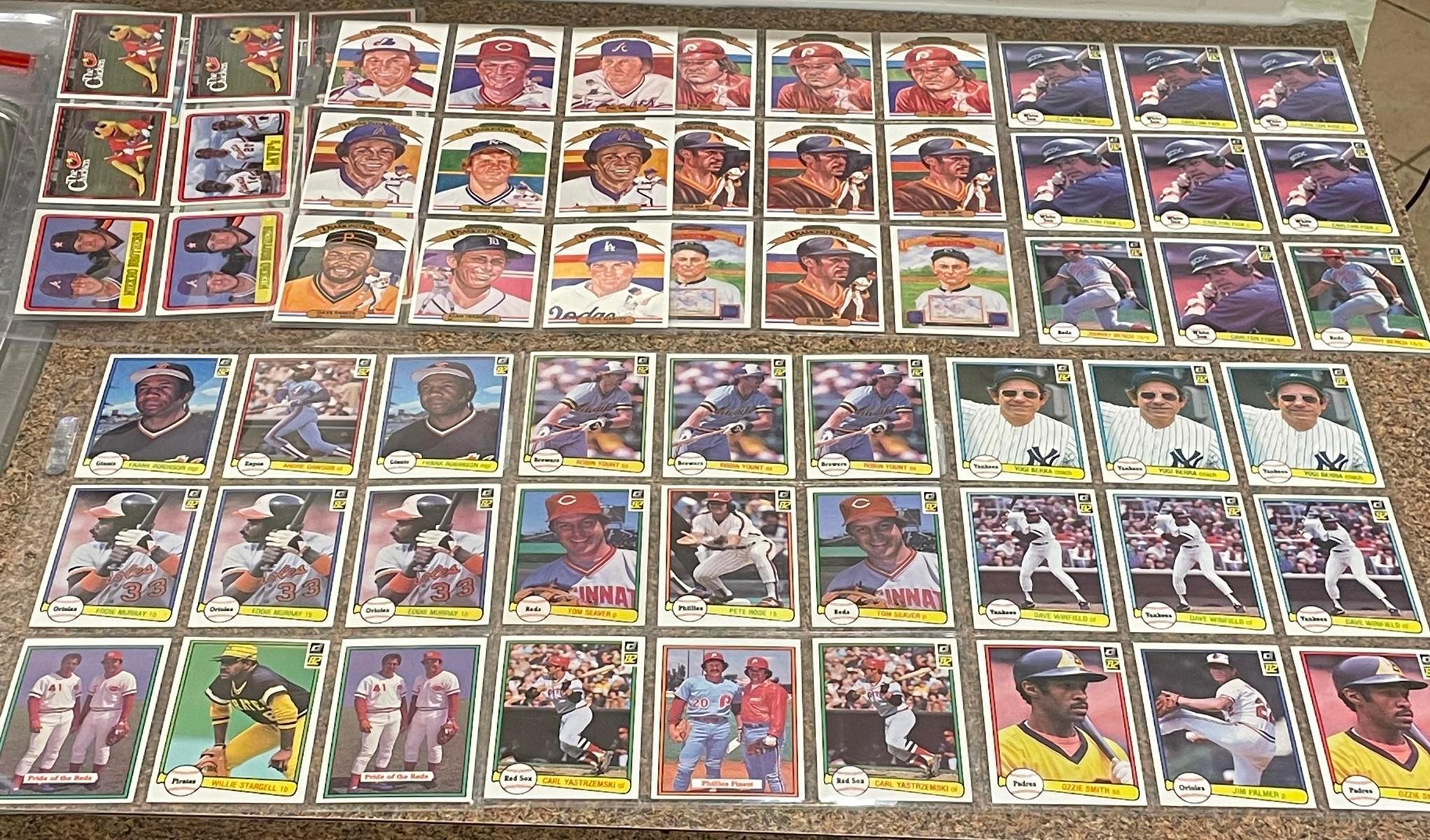 Vintage 1982 Donruss Lot of 67 Baseball Cards (Rose, Yount, Seaver, Yaz, Berra, Palmer, Winfield, Smith, Bench, Dawson, Stargell, Murray, Etc..)