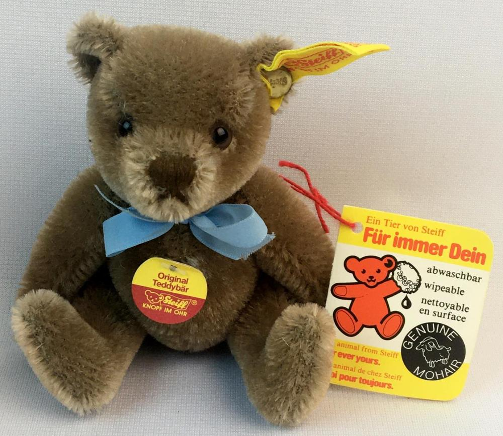 Vintage Steiff Small Mohair Jointed Teddy Bear w/ Tags and Button 5.5