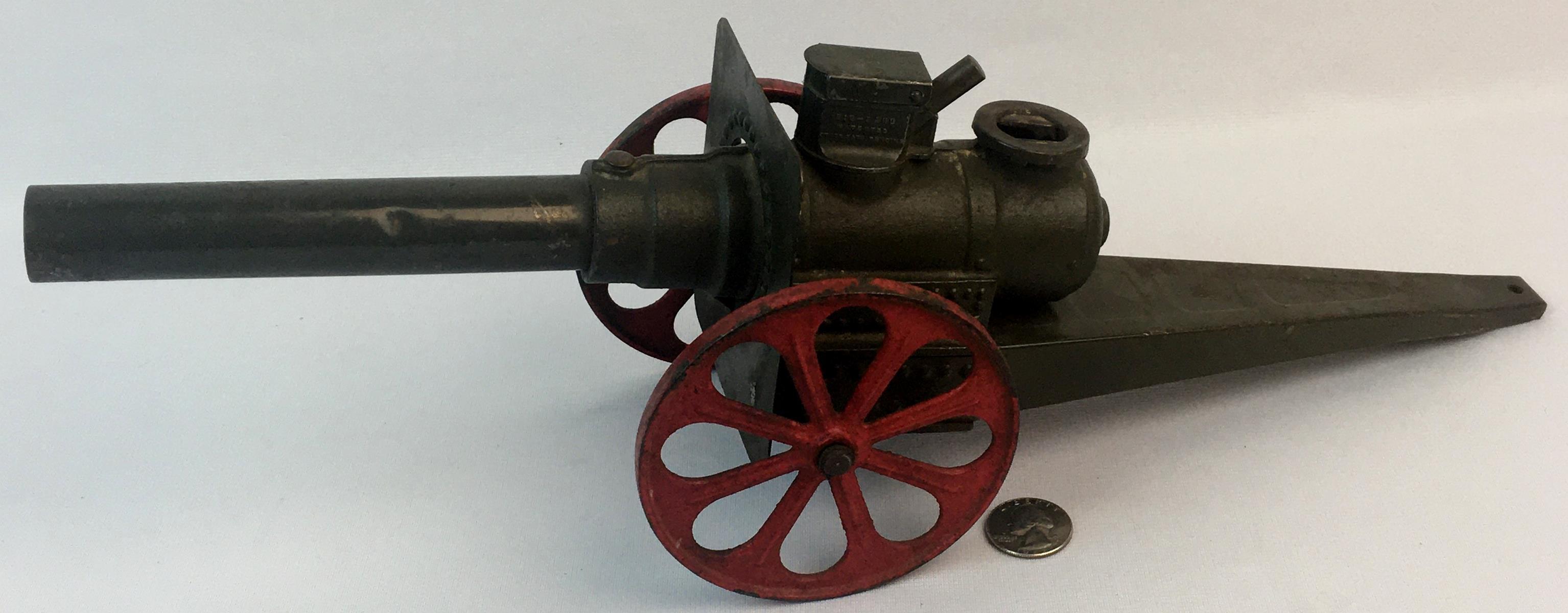 "Vintage 1950's Conestoga ""Big Bang"" No. 10 CC Metal Army Green Toy Cannon WORKS"
