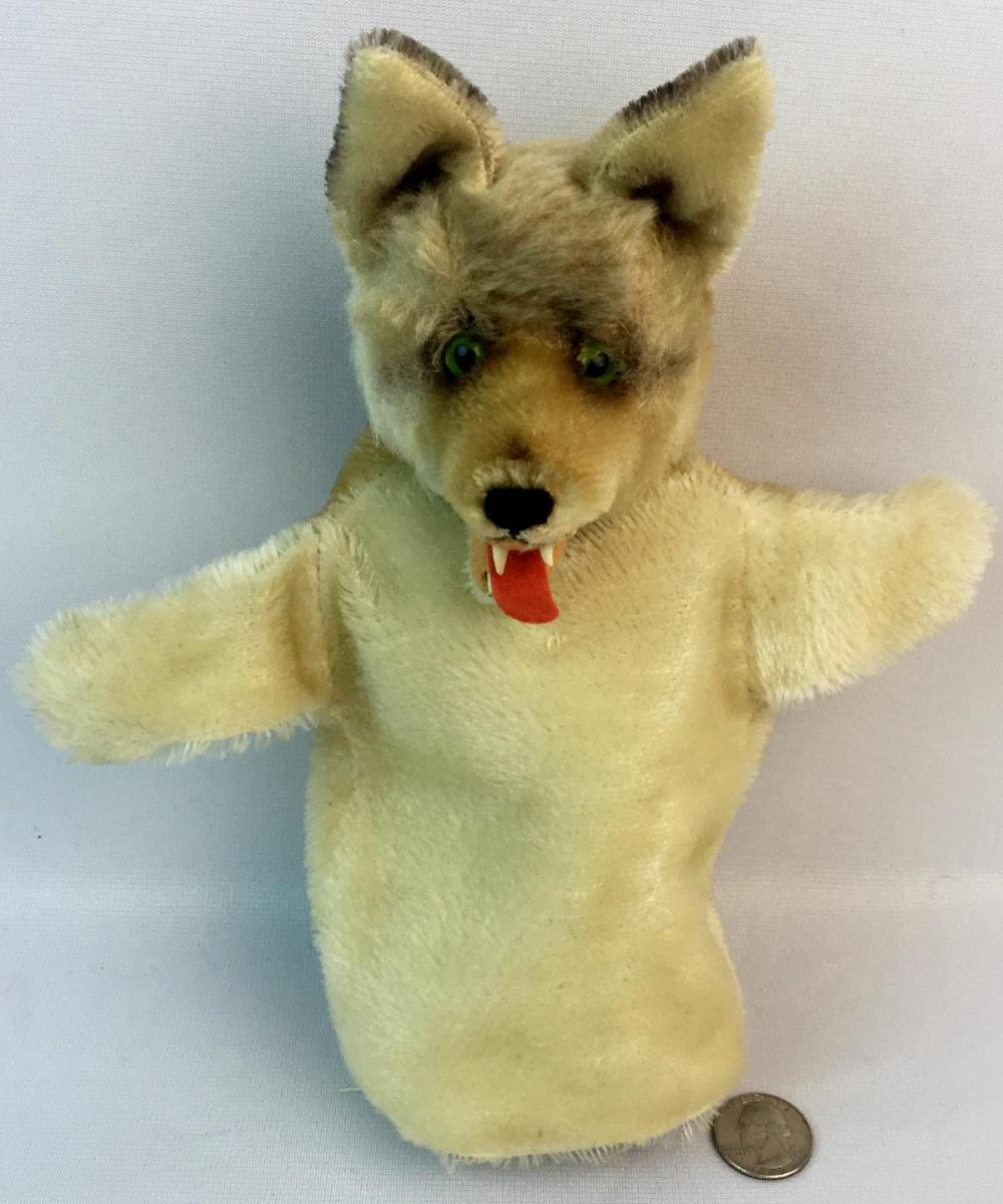 """Vintage c. 1970 Steiff Mohair Wolf """"Loopy"""" Hand Puppet w/ Teeth and Lolling Tongue"""